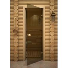 Дверь 7*19, стекло бронза, коробка сосна