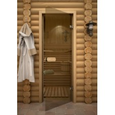 Дверь 7*19, стекло бронза, коробка осина